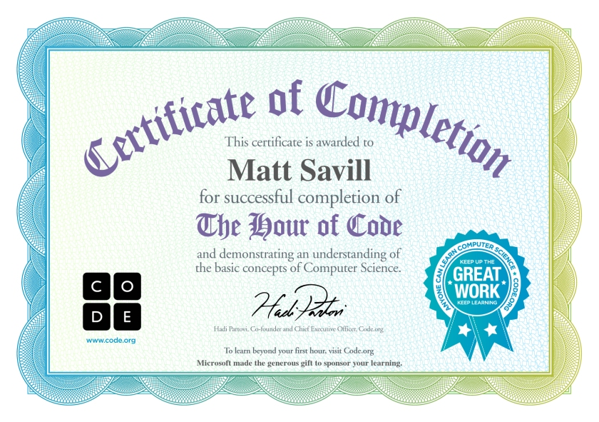 Hour of Code Certificate